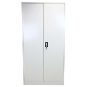 Modern Storage Cabinet With Lockable Doors and Shelves, Grey