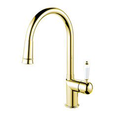 Extendable Classic Kitchen Mixer Tap, Brass-Coloured Stainless Steel