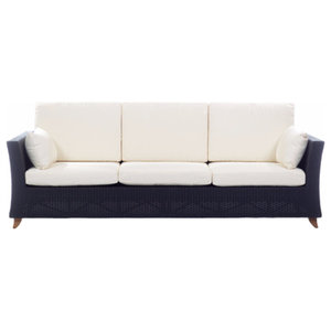 Rattan Deep Seating Sofa and Cushions, White