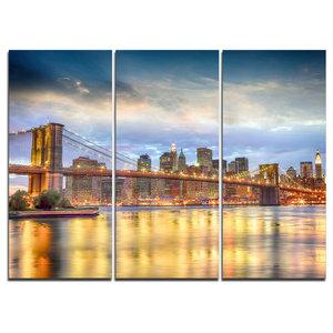 """Brooklyn Bridge With Night Illumination"" Wall Art, 3 Panels, 36""x28"""