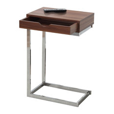 Accent Table, Walnut, Chrome Metal With A Drawer