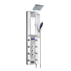 akdy home improvement akdy aluminum shower panel tower with rainfall shower head 52 - Shower Tower