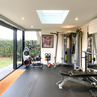 Contemporary home gym in London.