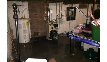 Basement Flood in Stamford, CT - before & after water cleanup and disinfection