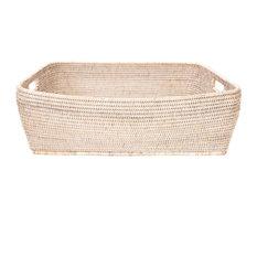 Artifacts Rattan™ Rectangular Oblong Storage Basket, White Wash, Large