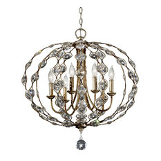 Feiss Leila 6-Bulb Burnished Silver Chandelier