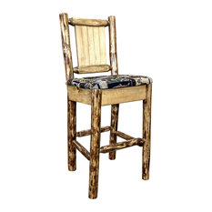Montana Log Collection Wood Counter Height Barstool MWGCBSWNR24WOODLZBRONC