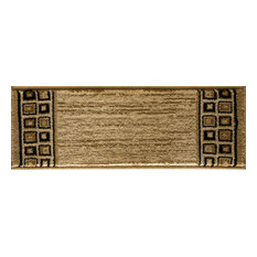 "Interlude Portico Rug, Ivory and Black, 9"" X 33"" Stair Tread"