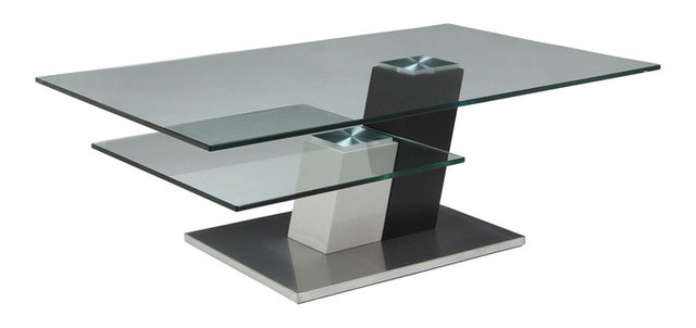 Pastel Kaffina Rectangular Glass Coffee Table in Stainless Steel and