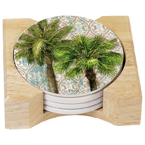 Etched Palm Tree Wood Coaster set of 4