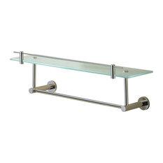 Porto Glass Shelf With Under Rail, Polished Nickel