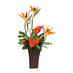 Large Silk Bird Of Paradise and Anthurium in Tall Metal Container