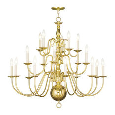 Chandeliers 20 Light Williamsburg With Polished Brass Finish