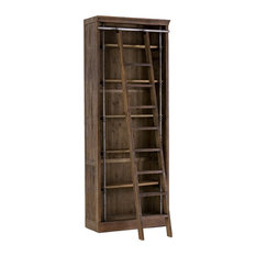 French Library Reclaimed Wood Single Bookcase With Ladder, Brown