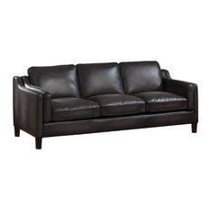 AMAX LEATHER - Ballari Leather Sofa, Weathered Gray - Sofas