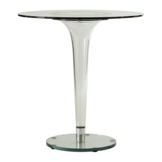 Leisuremod Lonia Modern Glass Top Bistro Accent Dining Table With Acrylic Base