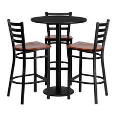 4-Piece Flash Furniture 30 Round Black Laminate Table Set