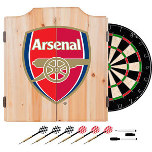 Premier League Dart Cabinet Set With Darts And Board, Arsenal
