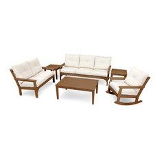POLYWOOD Vineyard 6-Piece Deep Seating Set, Teak / Antique Beige