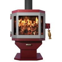 Catalyst Mojave Red Wood Stove with Pewter Door