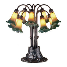 """22"""" Amber and Green Pond Lily 10-Light Table Lamp"""