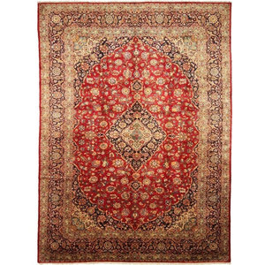 Kashan Oriental Rug, Hand-Knotted Classic, 423x305 cm