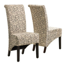monarch specialties inc tan swirl fabric dining chairs set of 2 parsons dining chairs houzz