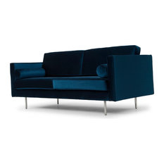 Cyrus Sofa in Midnight Blue Velour and Brushed Stainless Steel