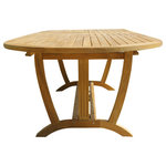 Classic Teak - Deluxe Oval Extension Table Large - Our Large Deluxe Oval Extension Table is perfect for a medium to large family and accommodates 8-10 people. The leaves fold right inside the table, no storage necessary! It has smooth corners so that everyone can get around it easily. The strong supports under this table and the structure of the leg design is well thought out and creates an incredibly stable piece of furniture. This table, like all of our teak furniture, is manufactured from specially selected teak grown in a sustainable growth forests on the island of Java. The forests are managed very well by the Indonesian government to ensure that the harvested wood remains a renewable resource for generations to come.