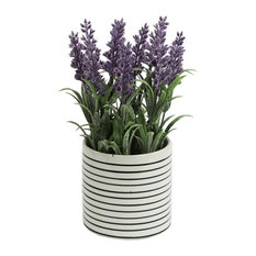 Admired By Nature Artificial French Lavender Plant With Striped Ceramic Pot