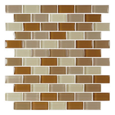 "12""x12"" Glass Tile Blends Crystal Series, Khaki Tan Blend"