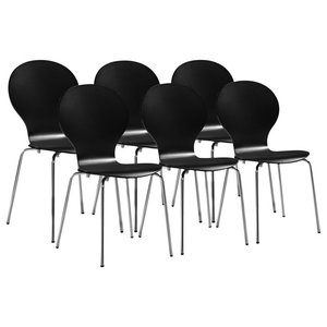 VidaXL 6 Stackable Butterfly Dining Chairs, Black