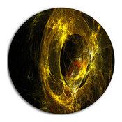 "Far Spherical Galaxy Golden, Abstract Digital Disc Metal Artwork, 11"""