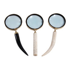 """Black and White Horn Magnifying Glasses, Set of 3: 4""""x11"""", 4""""x11"""", 4""""x10"""""""