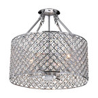 Chrome Round Shade Crystal Semi Flush Mount Chandelier 4-Light Ceiling Fixture