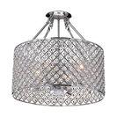 Marya 4-Light Chrome Beaded Drum Semi Flush Mount Chandelier Glam Lighting
