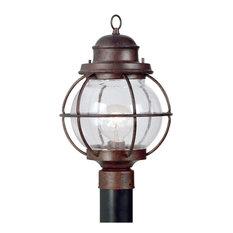 Hatteras 1-Light Post Lantern, Black Finish, Gilded Copper Finish