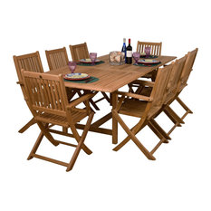 Hamburg 9-Piece Teak Extendable Rectangular Patio Dining Set