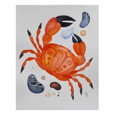 Crab Watercolor, Original Painting by Olena Baca