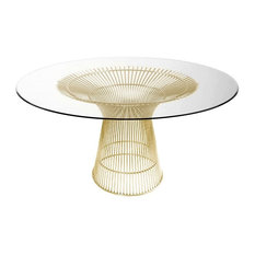 Charlize Glass Round Dining Table Wire Base, Gold