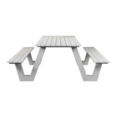 Lukas Outdoor Picnic Table, White Frame With White Top