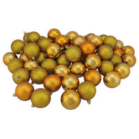 """60ct Antique Gold Shatterproof 4-Finish Christmas Ball Ornaments 2.5"""", 60mm"""