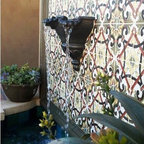 Spanish Style Courtyard With Wall Fountain Mediterranean