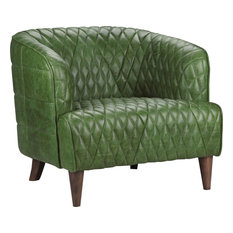 Moeu0027s Home Collection   Magdelan Tufted Leather Arm Chair, Dark Green    Armchairs And Accent