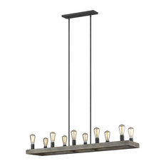 10-Light Old World Wooden Linear Chandelier