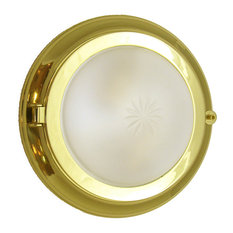 Solid Brass Round Flush Light (Brass & Chrome Finish), Lacquered Brass, Starburs