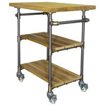 "Furniture Pipeline - Hoboken Rustic Kitchen Cart, Brushed Brass Gray Steel/Natural - Perfect balance of organization and industrial style, the Hoboken rustic all-purpose bar cart will add an extra serving and storage space to your home. Featuring a three-tiered recyclable aircraft grade aluminum metal design with flash plated fittings. It has open shelving with a reclaimed sustainable solid Paulownia (lightest to strongest ratio wood species in the world) wood finish. This durable and mobile kitchen cart brings an industrial farmhouse charm to your space! The kitchen cart is equipped with a towel rack on each side and four rubber wheeled casters for smooth 360 degrees swivel, which have a breaking function on each wheel to secure the serving cart when you reach your destination. The kitchen cart has a built in 1.5"" smooth and solid Paulownia wood cutting board/butchers block, with an Eco-friendly tongue oil finish. With a low VOC finish, recyclable metals, sustainable wood and 100% recyclable packaging, your home and planet are sure to beam a healthy smile in approval!"