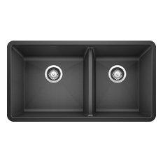 """Blanco 441128 18""""x33"""" Granite Double Undermount Kitchen Sink, Anthracite"""