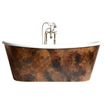 "The Tub Studio - NicolosaAir 73"" Hot Air Jetted, Skirted Bathtub, Patina Copper Leaf Exterior - 'NicolosaAir73' 73"" CoreAcryl WHITE French Bateau HOT AIR JETTED Acrylic Skirted Bathtub Package with a Patina Copper Leaf Exterior"