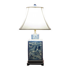 50 most popular asian table lamps for 2018 houzz china furniture and arts blue and white porcelain tea jar lamp with silk shade aloadofball Choice Image